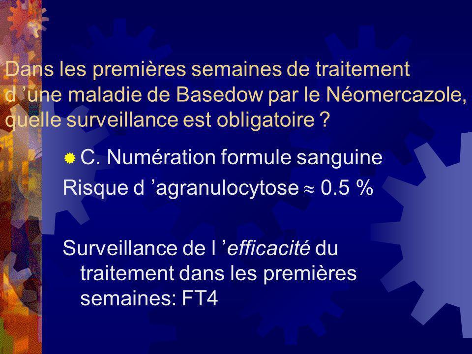 Dans les premières semaines de traitement d 'une maladie de Basedow par le Néomercazole, quelle surveillance est obligatoire