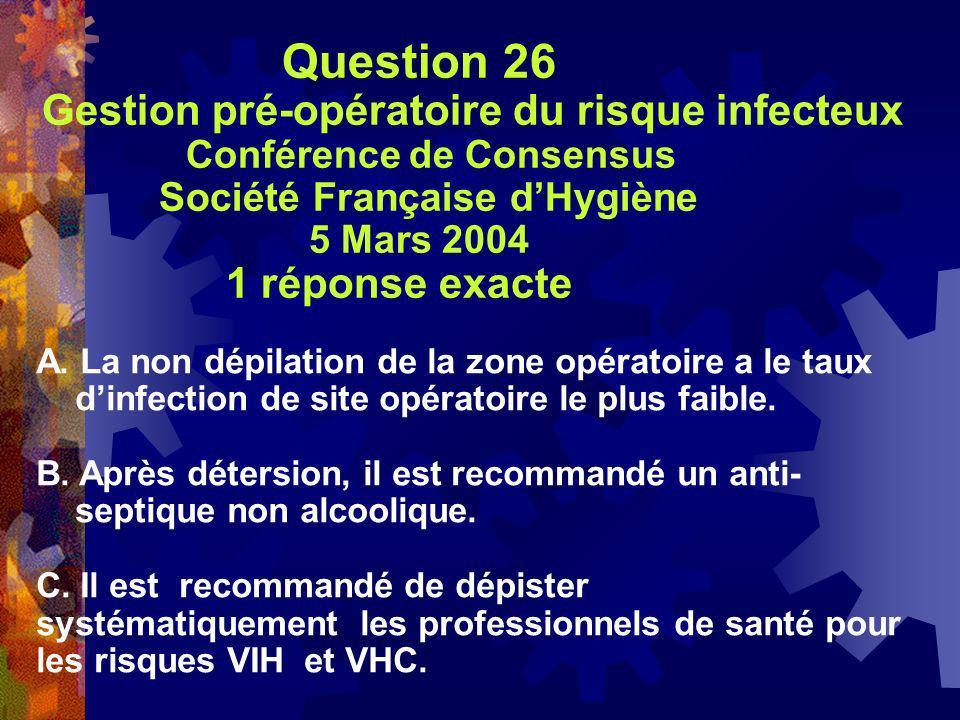 Question 26 Gestion pré-opératoire du risque infecteux