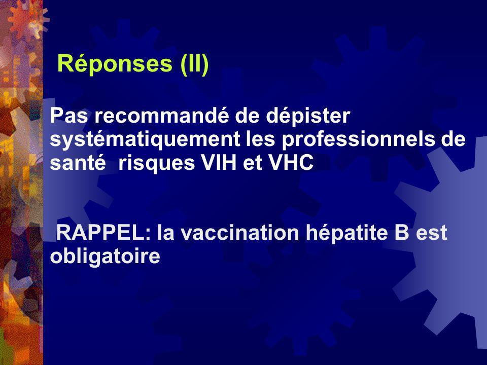 Réponses (II) Pas recommandé de dépister systématiquement les professionnels de santé risques VIH et VHC.