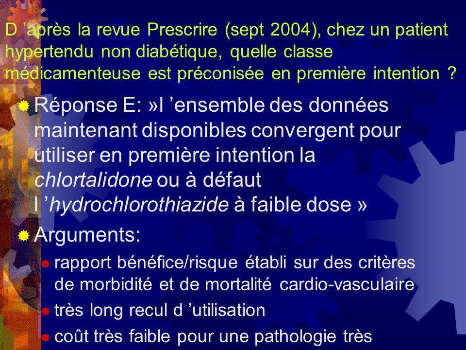D 'après la revue Prescrire (sept 2004), chez un patient hypertendu non diabétique, quelle classe médicamenteuse est préconisée en première intention