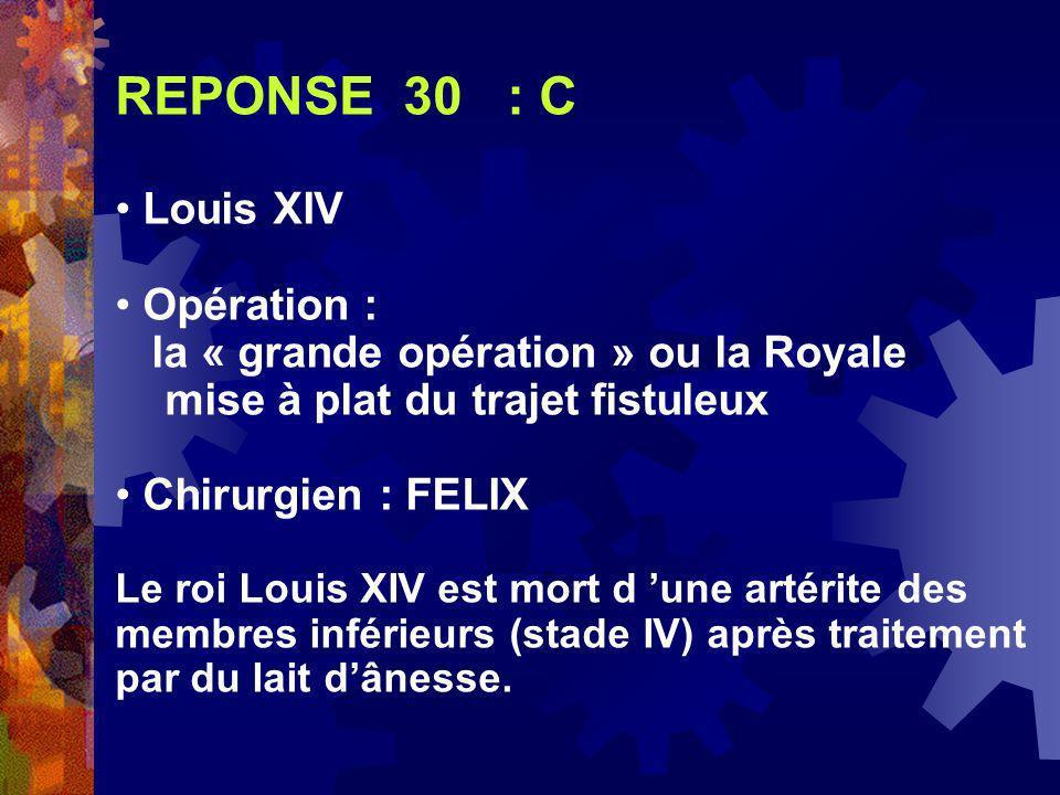 REPONSE 30 : C Louis XIV Opération :