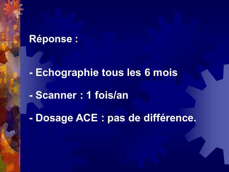 - Echographie tous les 6 mois - Scanner : 1 fois/an