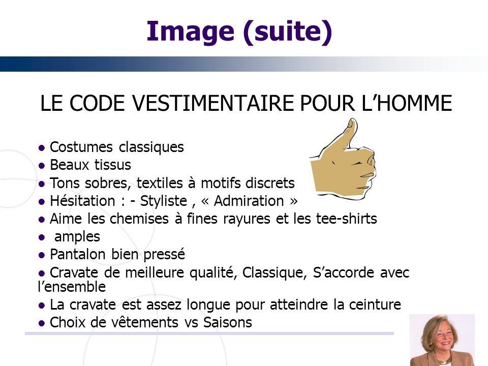LE CODE VESTIMENTAIRE POUR L'HOMME