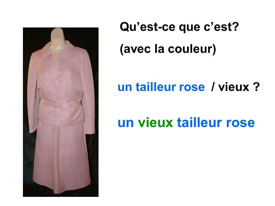 un vieux tailleur rose Qu'est-ce que c'est (avec la couleur)