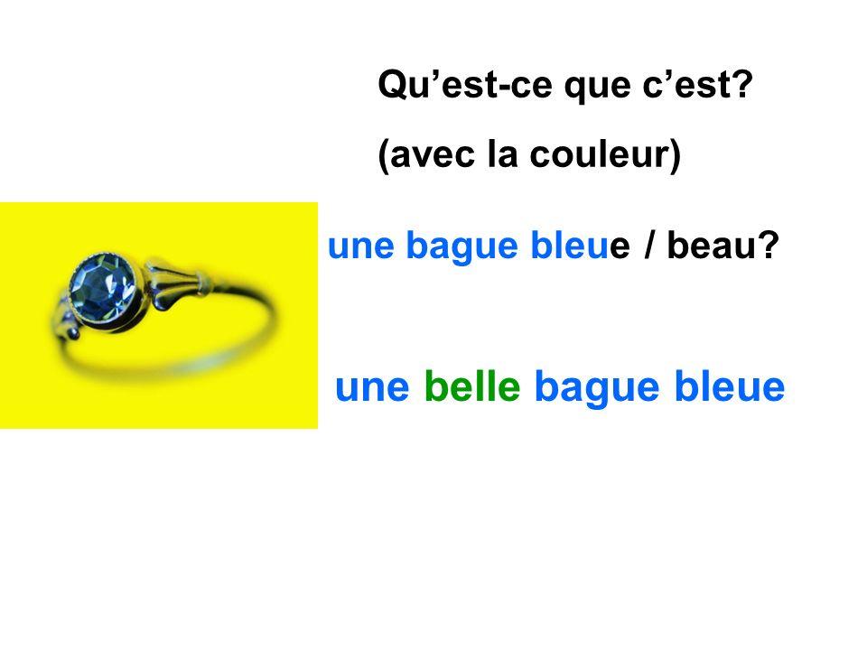 une belle bague bleue Qu'est-ce que c'est (avec la couleur)