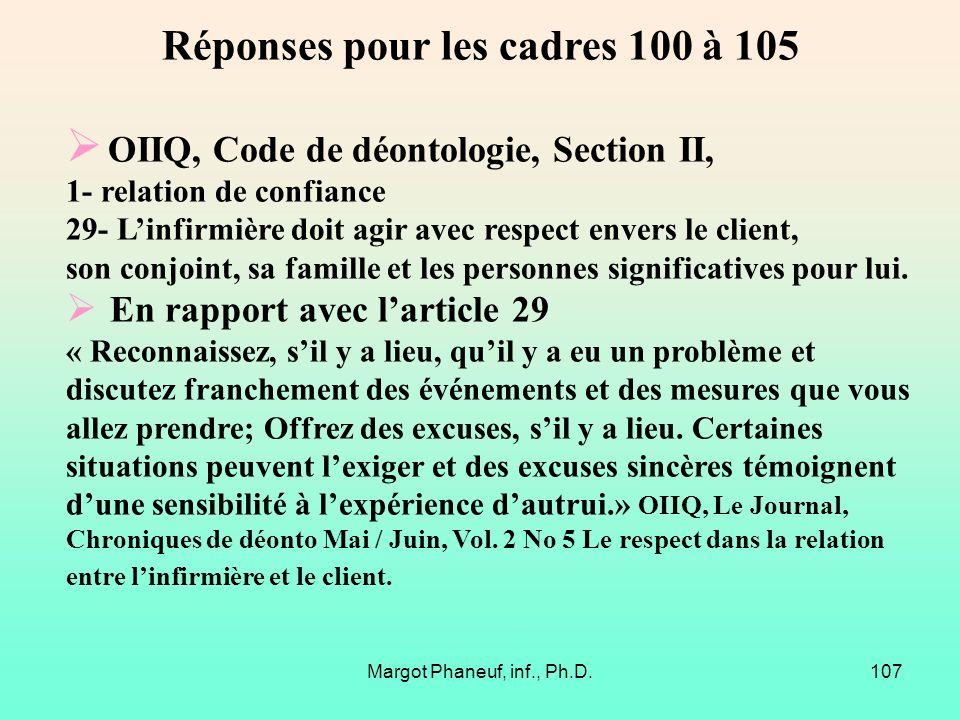 Réponses pour les cadres 100 à 105