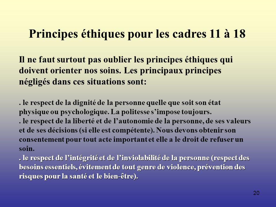 Principes éthiques pour les cadres 11 à 18