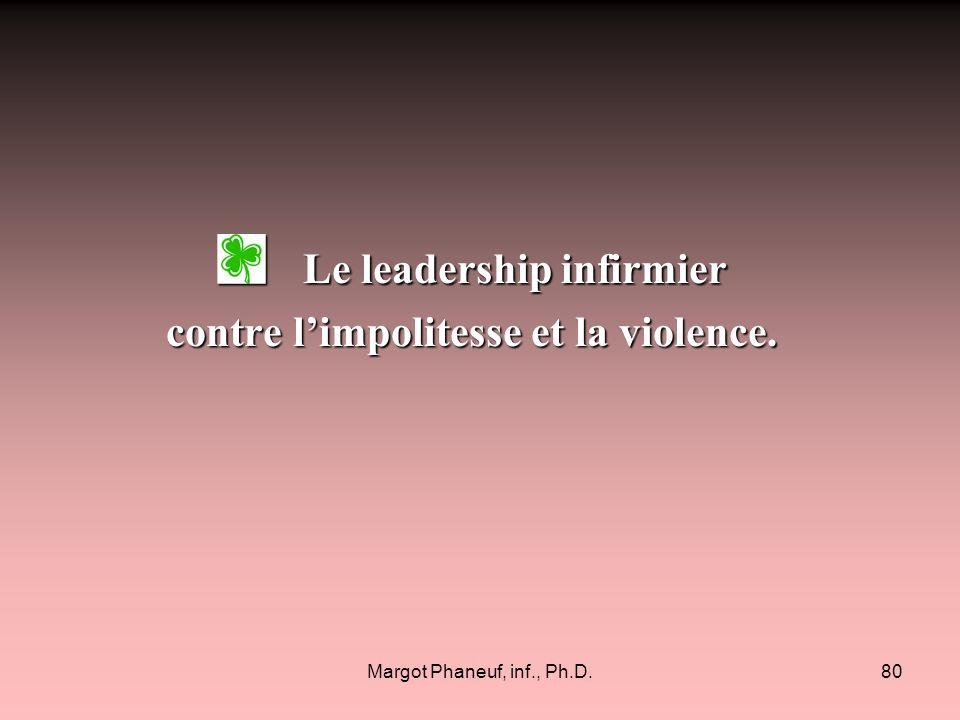 Le leadership infirmier contre l'impolitesse et la violence.