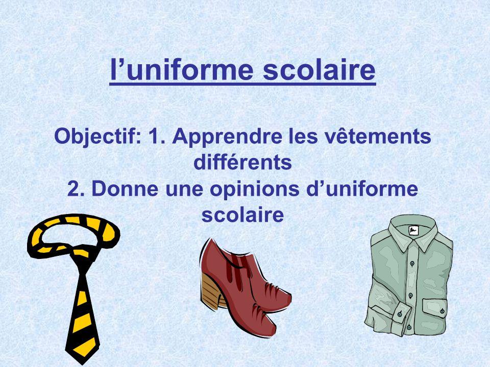 l'uniforme scolaire Objectif: 1. Apprendre les vêtements différents 2