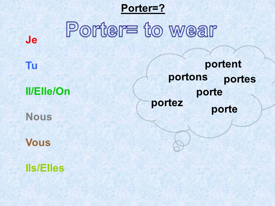 Porter= to wear Porter= Je Tu portent Il/Elle/On portons Nous portes
