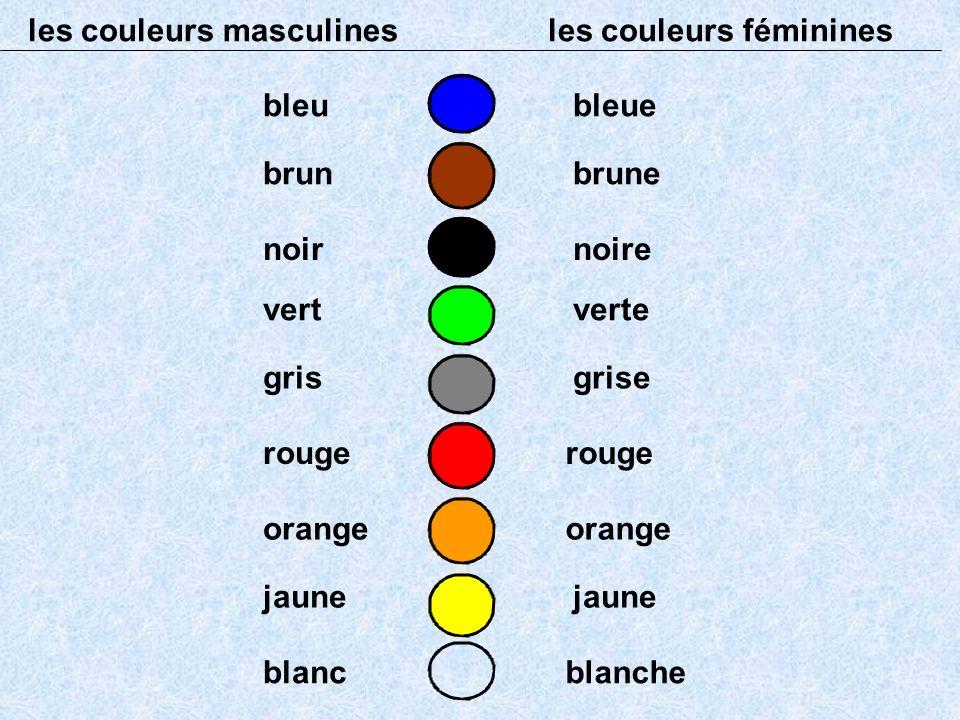 les couleurs masculines les couleurs féminines