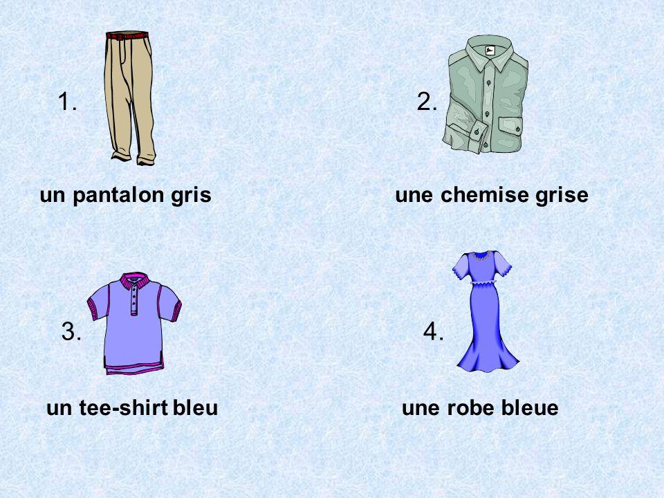 1. 2. 3. 4. un pantalon gris une chemise grise un tee-shirt bleu