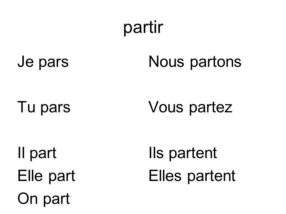 partir Je pars Tu pars Il part Elle part On part