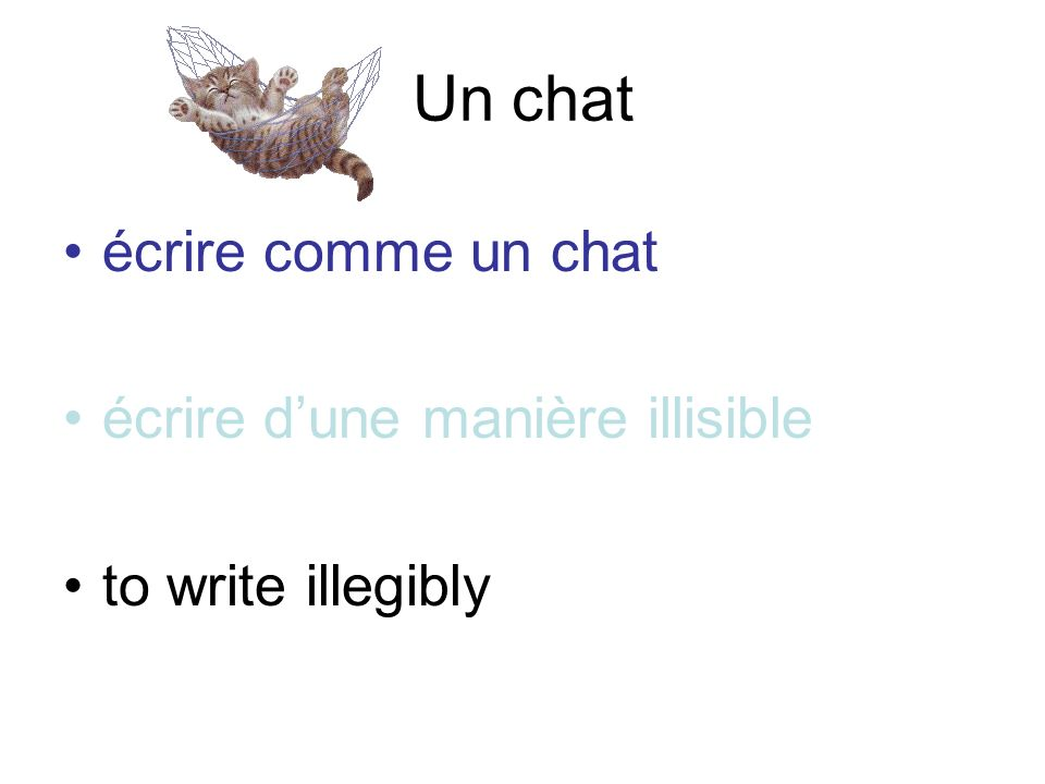 Un chat écrire comme un chat écrire d'une manière illisible