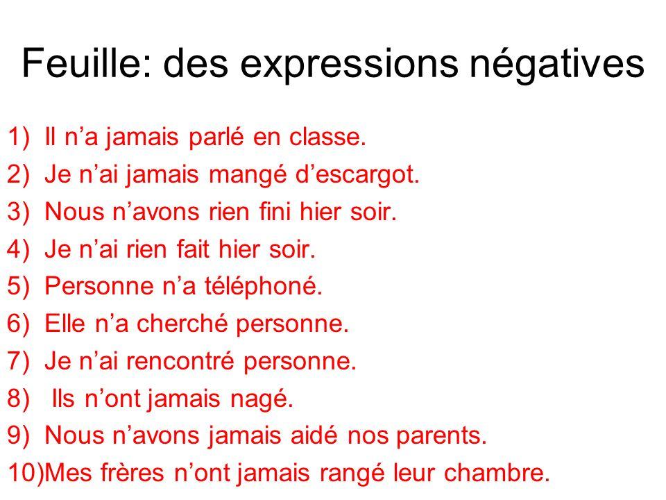 Feuille: des expressions négatives