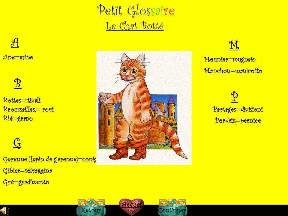 Petit Glossaire A M B P G Le Chat Botté Ane=asino Meunier=mugnaio