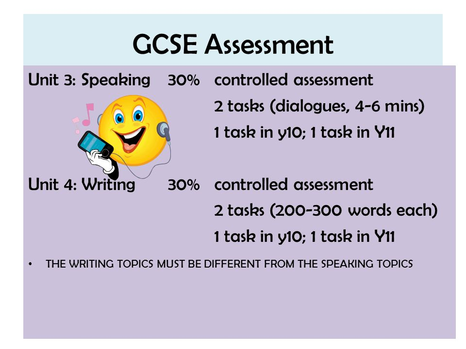 GCSE Assessment Unit 3: Speaking 30% controlled assessment