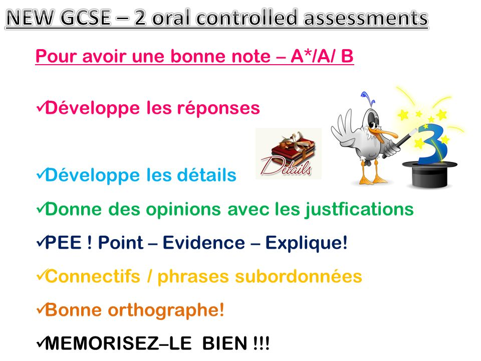 NEW GCSE – 2 oral controlled assessments