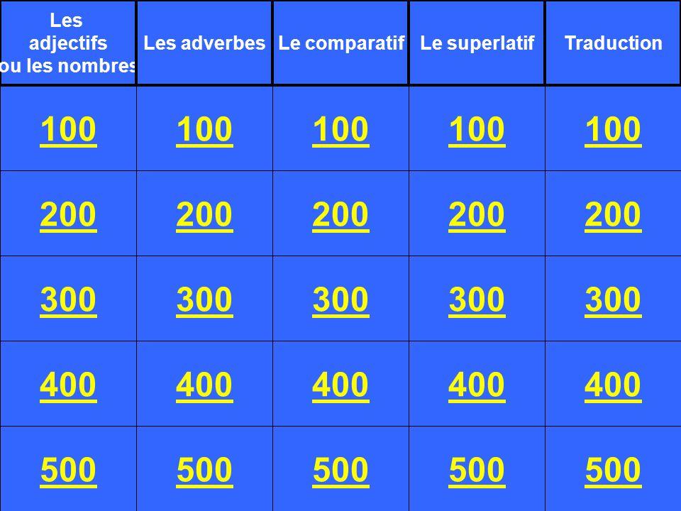 Les adjectifs. ou les nombres. Les adverbes. Le comparatif. Le superlatif. Traduction. 100. 100.