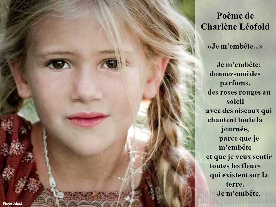 Poème de Charlène Léofold «Je m embête