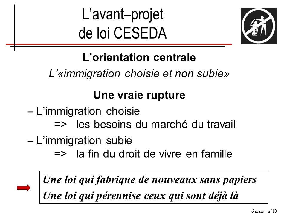 L'avant–projet de loi CESEDA