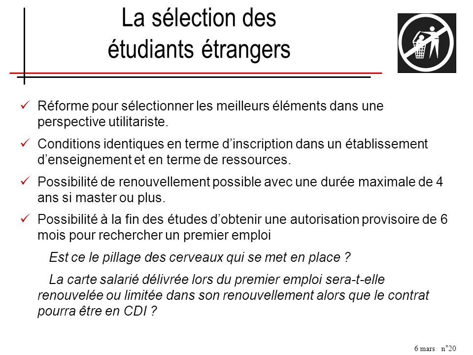 La sélection des étudiants étrangers