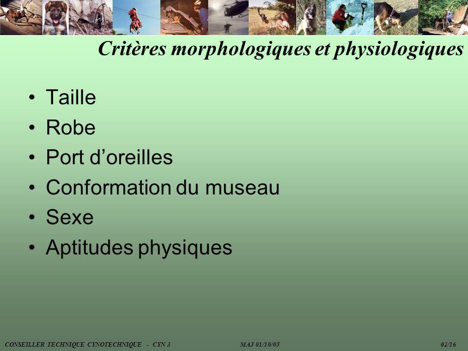 Critères morphologiques et physiologiques