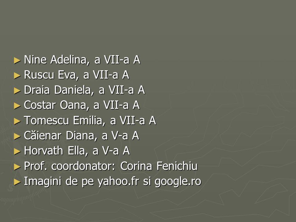 Nine Adelina, a VII-a A Ruscu Eva, a VII-a A. Draia Daniela, a VII-a A. Costar Oana, a VII-a A. Tomescu Emilia, a VII-a A.