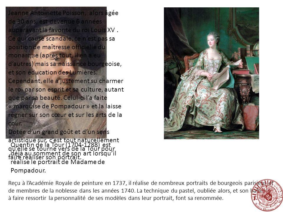 Jeanne Antoinette Poisson, alors âgée de 30 ans, est devenue 6 années auparavant la favorite du roi Louis XV . Ce qui cause scandale, ce n'est pas sa position de maîtresse officielle du monarque (après tout, il en a eu d'autres) mais sa naissance bourgeoise, et son éducation des Lumières.