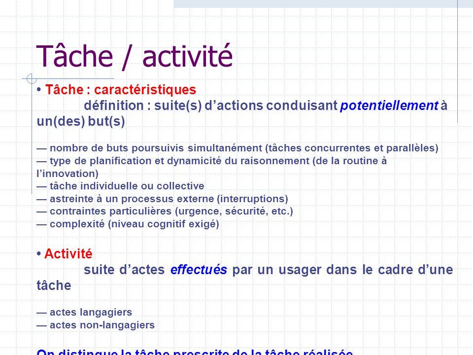 Tâche / activité • Tâche : caractéristiques