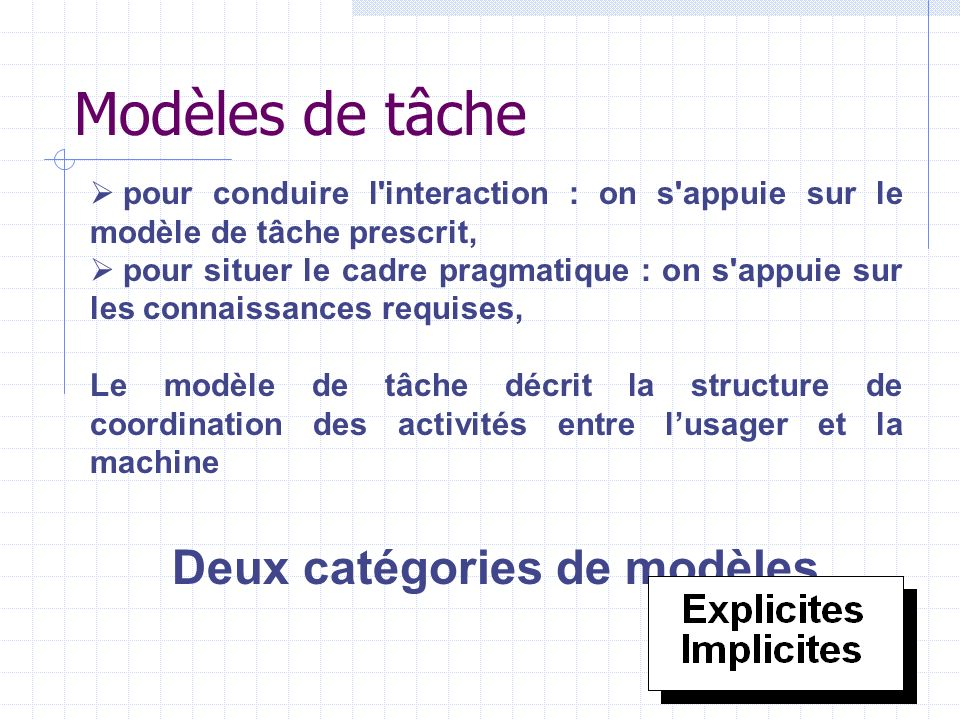 Deux catégories de modèles