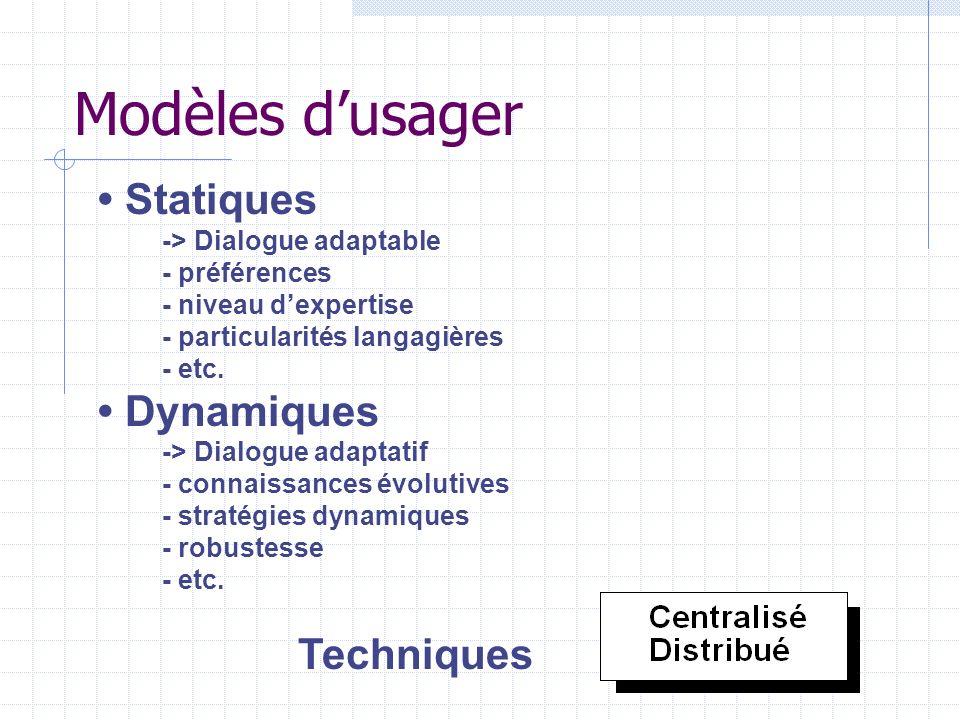 Modèles d'usager • Statiques • Dynamiques Techniques