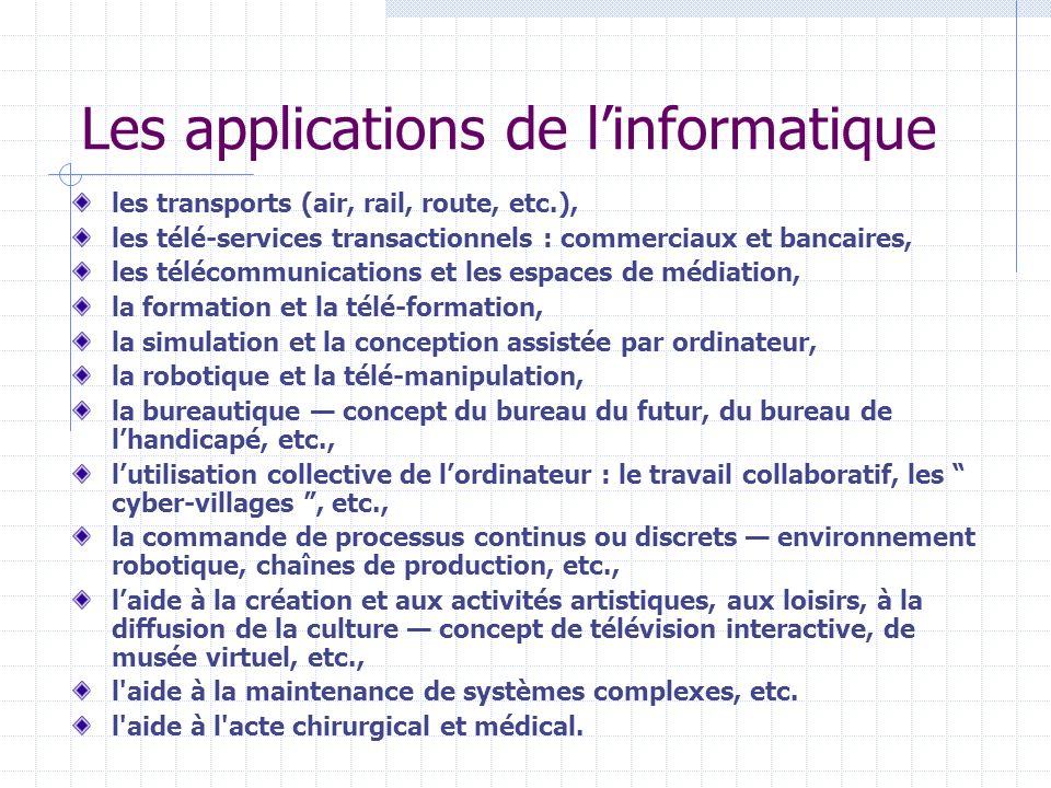 Les applications de l'informatique