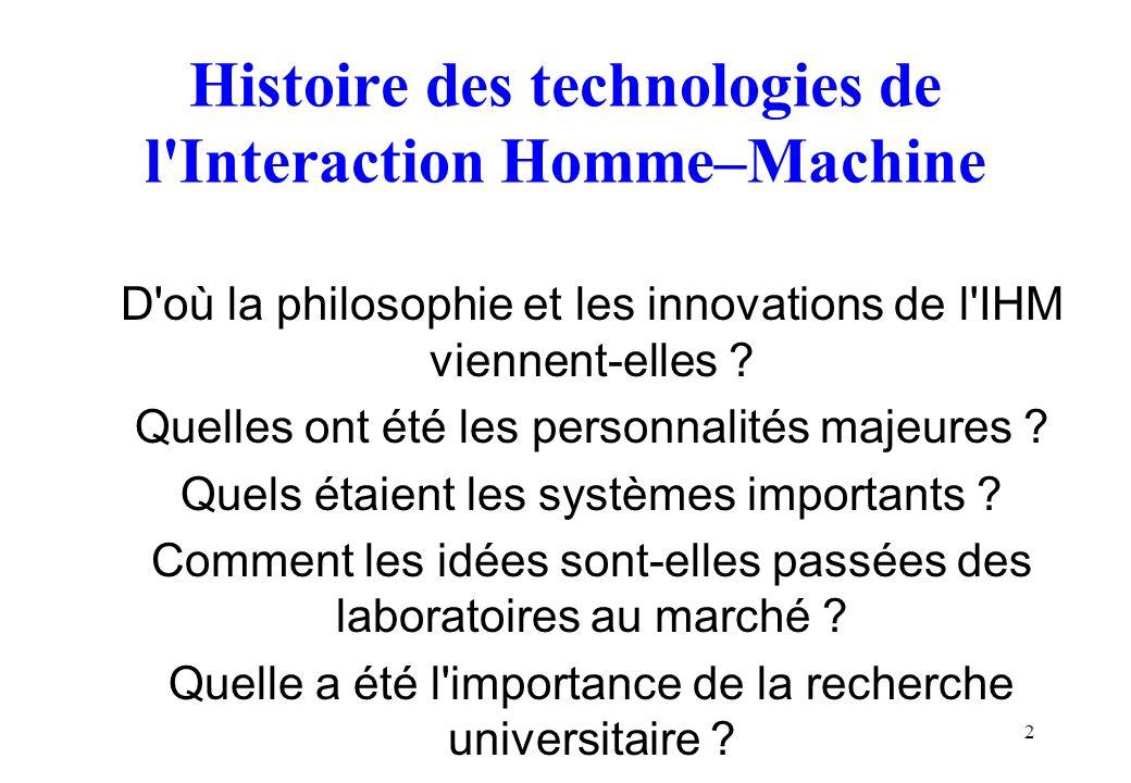 Histoire des technologies de l Interaction Homme–Machine