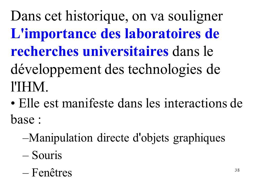 Dans cet historique, on va souligner L importance des laboratoires de recherches universitaires dans le développement des technologies de l IHM.