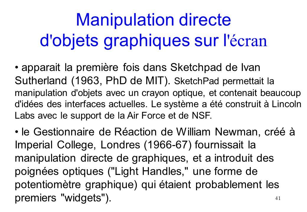Manipulation directe d objets graphiques sur l écran