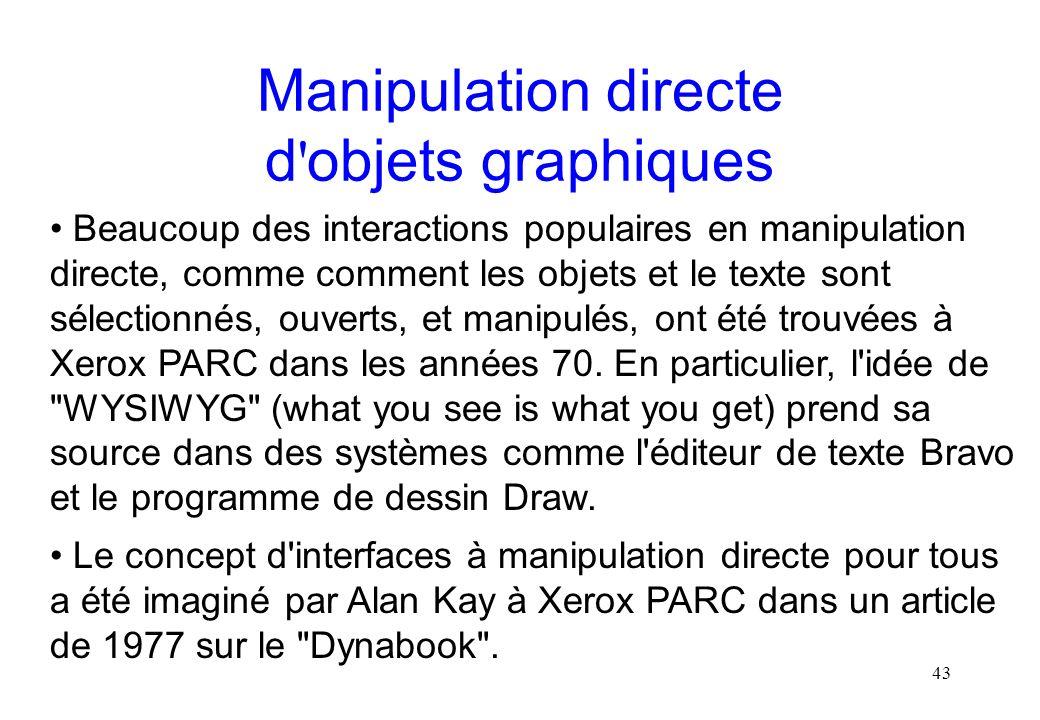 Manipulation directe d objets graphiques