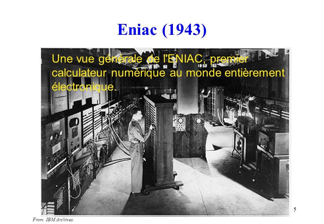 Eniac (1943) Une vue générale de l ENIAC, premier calculateur numérique au monde entièrement électronique.