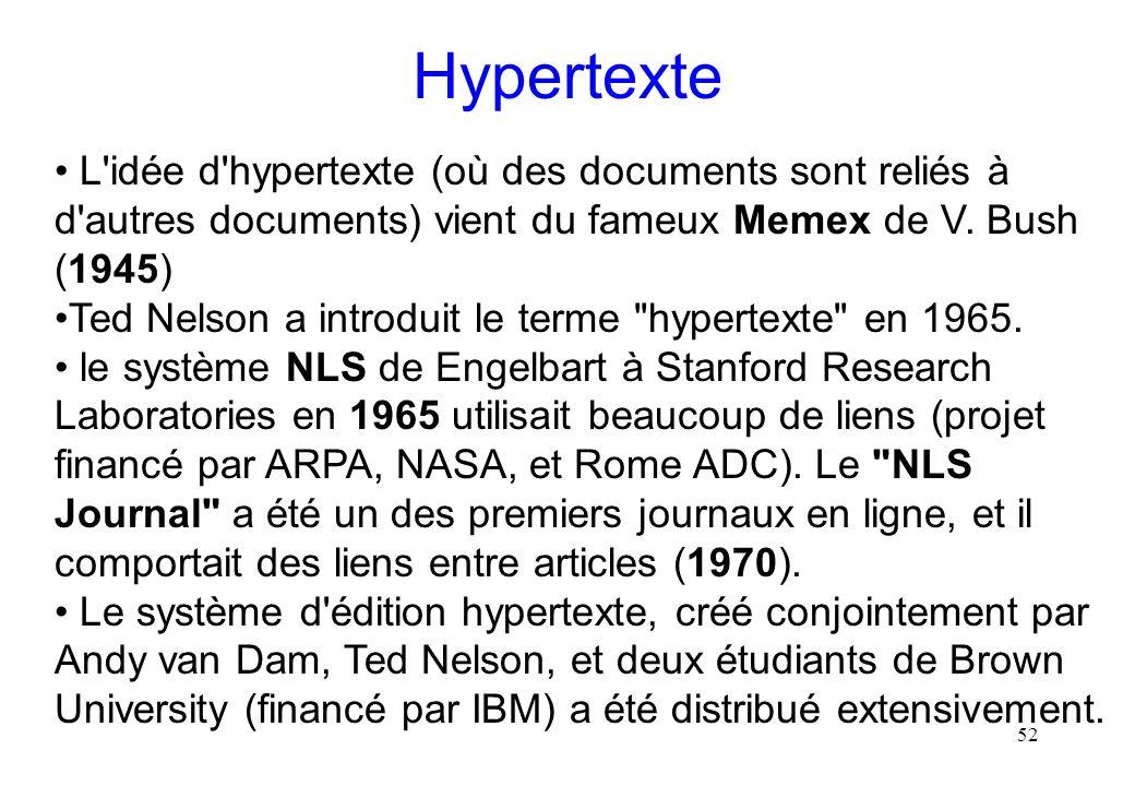 Hypertexte L idée d hypertexte (où des documents sont reliés à d autres documents) vient du fameux Memex de V. Bush (1945)