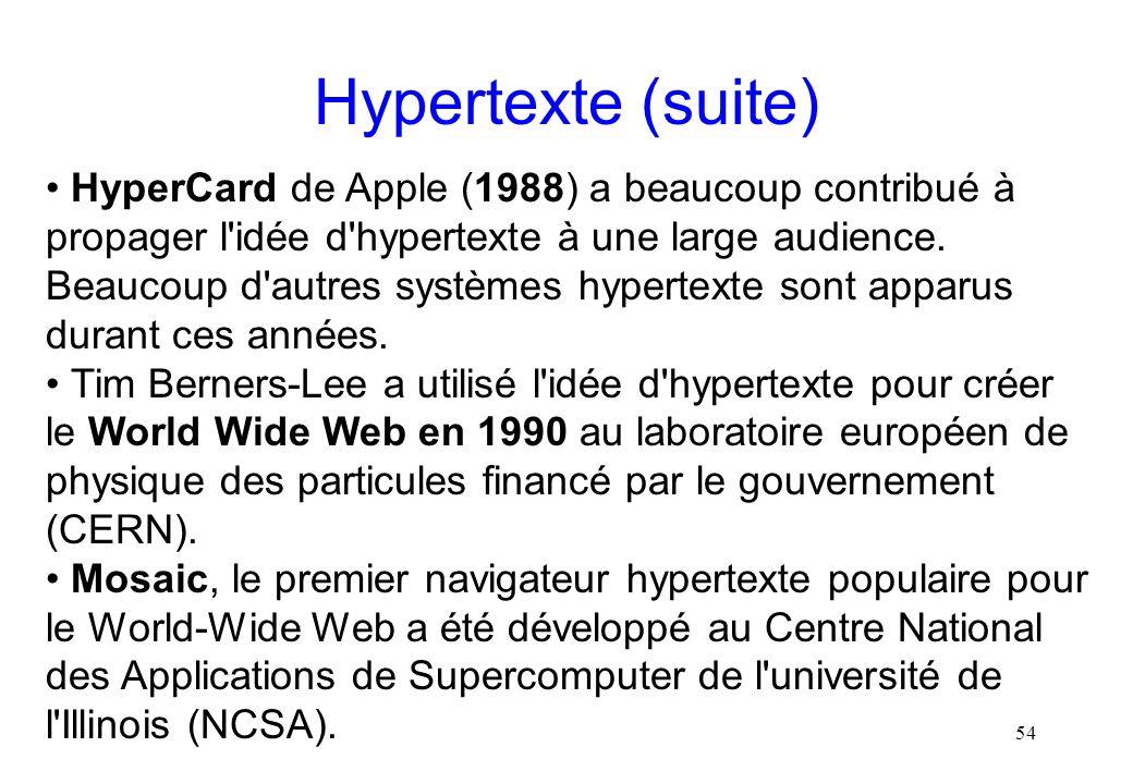 Hypertexte (suite)