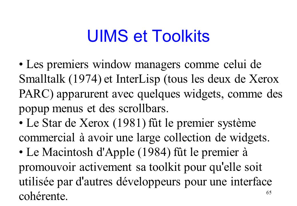 UIMS et Toolkits