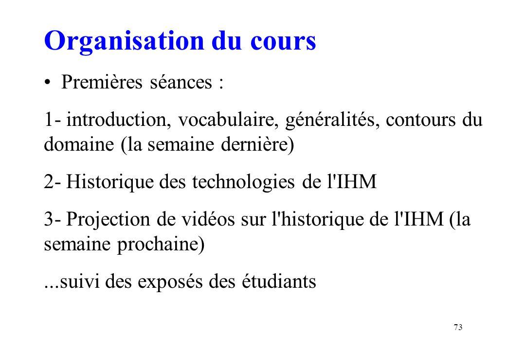 Organisation du cours Premières séances :