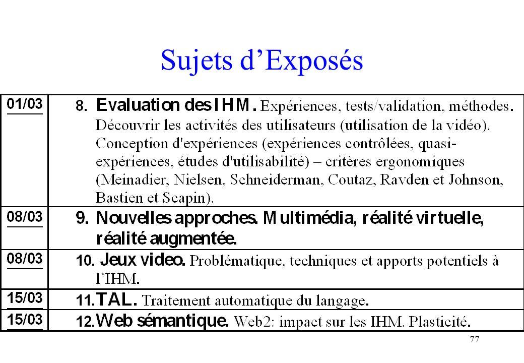 Sujets d'Exposés