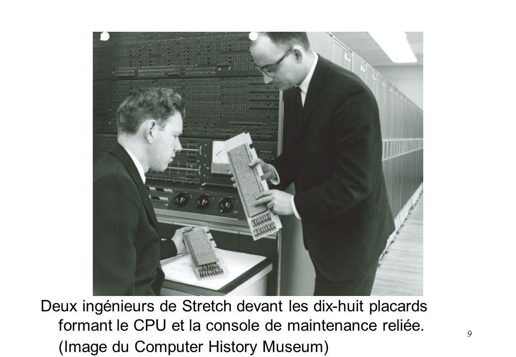 Deux ingénieurs de Stretch devant les dix-huit placards formant le CPU et la console de maintenance reliée.