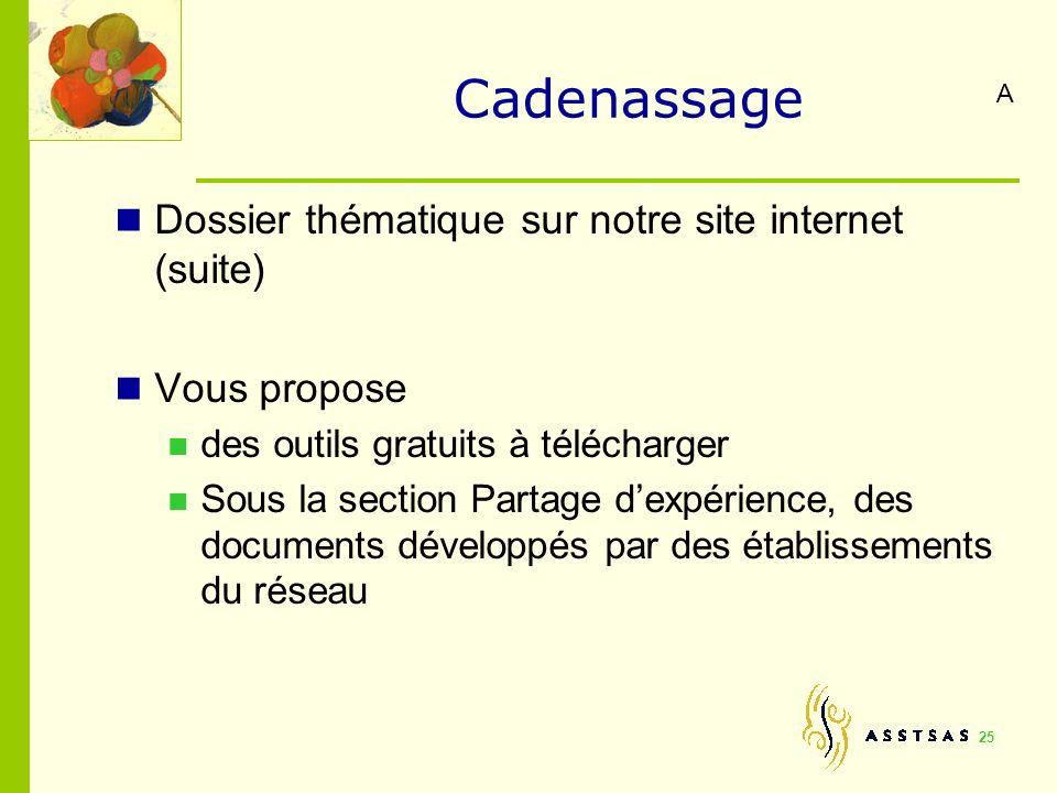 Cadenassage Dossier thématique sur notre site internet (suite)