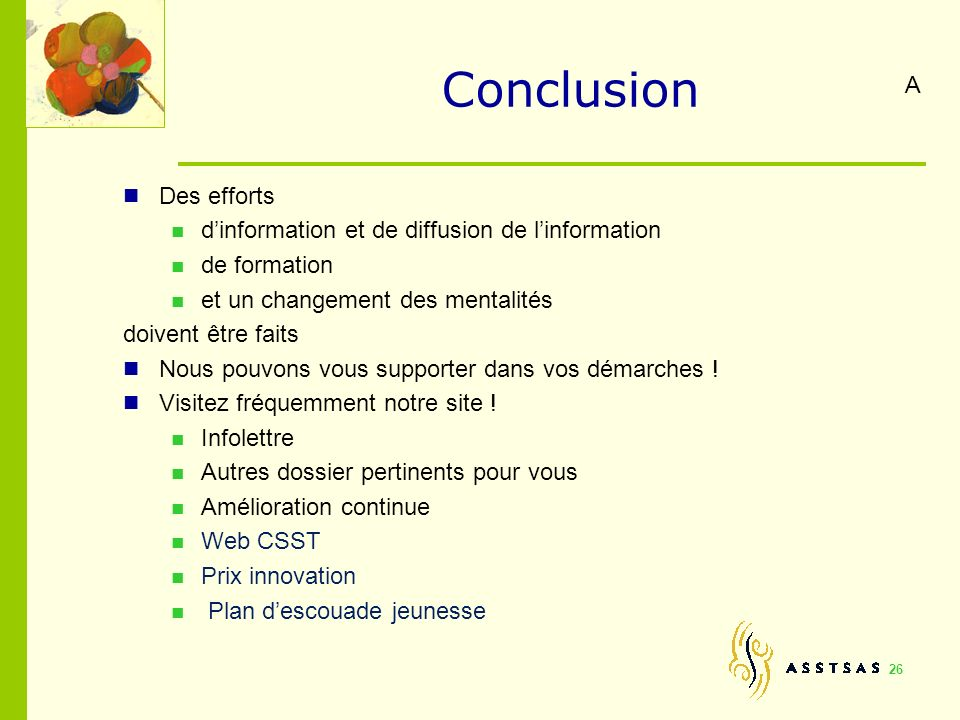 Conclusion A Des efforts