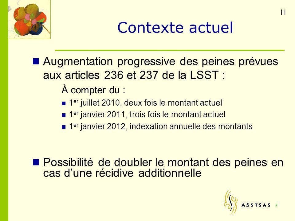 H Contexte actuel. Augmentation progressive des peines prévues aux articles 236 et 237 de la LSST :