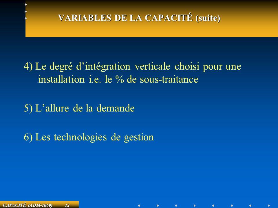 VARIABLES DE LA CAPACITÉ (suite)