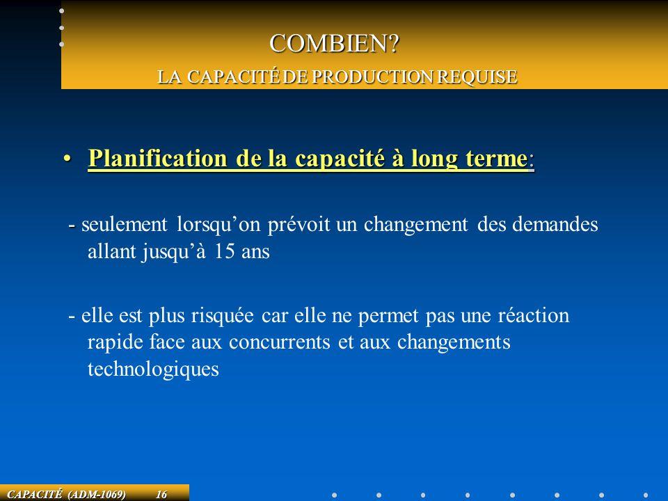 COMBIEN LA CAPACITÉ DE PRODUCTION REQUISE