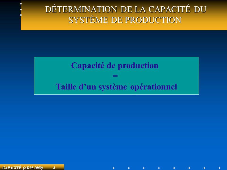 DÉTERMINATION DE LA CAPACITÉ DU SYSTÈME DE PRODUCTION